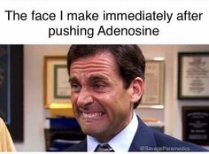 The face I make after pushing adenosine. Nurse humor - Nursing Meme - The post The face I make after pushing adenosine. Nurse humor appeared first on Gag Dad. Icu Nurse Humor, Medical Student Humor, Paramedic Humor, Rn Humor, Nurse Jokes, Medical Memes, Nursing Memes, Funny Nursing, Nursing Quotes