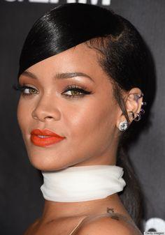 Rihanna's orange lipstick and sleek liner win
