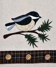 Chickadee & Evergreen ~ Wooden Bear Quilt Designs ~ Applique Pattern ~ tea towel