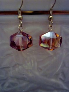 Unique Orange Hexagon Crystal AB - Cute Dangle Earrings in Gorgeous Orange,  SRAJD