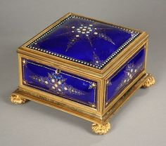 Antique blue enameled box of brass and bronze c19th censtury, Galerie Atena