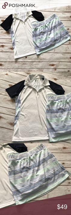 IZOD Women's Golf Outfit Top skirt white blue Women's IZOD Golf set. Polo shirt with matching skirt. Both size medium and worn only once.   Top is blue and white with striped back and trim.  Skirt is striped to match shirt. Has pocket on back and side pockets. Built in white shorts. Izod Tops