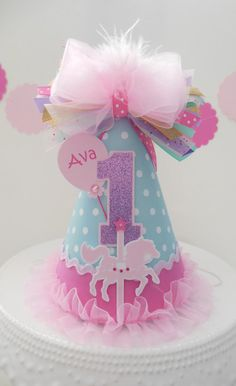 Lil' Carousel Horse Birthday Party Hat - Circus - Minty Blue Dot, Pink and Purple Glitter - Personalized