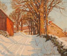 """American & European Paintings & Prints - Sale 2598B - Lot 367    Robert Emmett Owen (American, 1878-1957)     A Country Road in Winter   Signed """"R. Emmett Owen"""" l.r.   Oil on canvas, 20 x 24 in. (50.6 x 61.0 cm), framed.   Condition: Craquelure.     Sold for $4,148.00"""