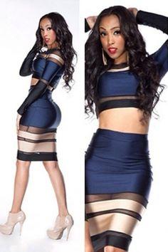 424ea112aa Multi-tone Bandage Long-sleeve Skirt Set US  7.71 Stitching Dresses