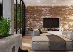 Exposed brick walls can be found also in other living spaces. Checkout our latest collection of 23 Elegant Living Rooms with Exposed Brick Wall. Brick Interior, Industrial Interior Design, Industrial Living, Industrial Interiors, Interior Rendering, Modern Interior, Interior And Exterior, Modern Furniture, Living Room Red