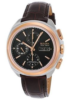 Men's Murren Telc Chrono Brown Genuine Leather Black Dial