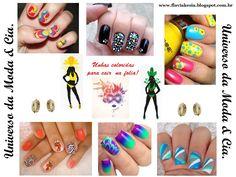 Confira no blog Universo da Moda & Cia., ideias inspiradoras de unhas coloridas para o carnaval.