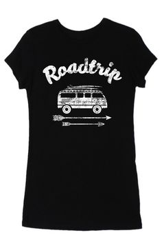 Road Trip Black Graphic Tee. Super Soft, Form Fitting.    5 Stars - lois lane on Jun 27, 2016 I loved the tee. Super soft. I got it quickly with a handwritten note!