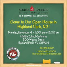 Highland Park! Come out to #Source4Teachers open house on 11/4! We'll be at the Middle School Cafeteria from 11 - 3pm