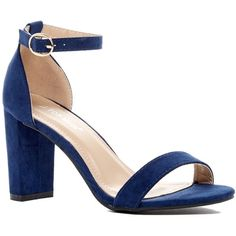 Top Moda Konner Sandal (£16) ❤ liked on Polyvore featuring shoes, sandals, dark royal blue, ankle strap shoes, open toe shoes, open toe sandals, block heel ankle strap sandals and ankle wrap sandals