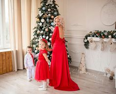 red mother daughter matching dress long deep v open back dress mommy and me lace matching outfit red dress evening train dress
