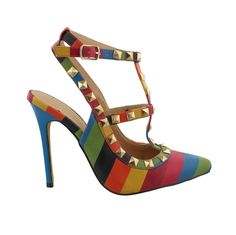Studded Rainbow Slingback Pump. Use code BLACKOUT to receive 40 % off at checkout www.obsessiveshoeaddict.com