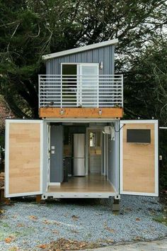 This is a two-story shipping container tiny house for sale that's totally unlike anything I've seen before! Designed by BoxedHaus, it has beautiful modern finishes, an upstairs bedroom … House Design Two-Story Shipping Container Tiny House For Sale Tiny House Shipping Container, Shipping Container Home Designs, Building A Container Home, Container House Plans, Container House Design, Tiny House Design, Shipping Containers, Container Pool, Container Homes For Sale