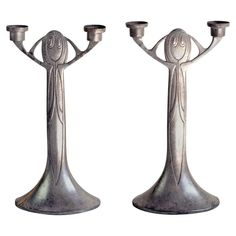 Pair of Jugendstil Candlesticks by Joseph Maria Olbrich, Germany, 1903-1904 | From a unique collection of antique and modern candle holders at https://www.1stdibs.com/furniture/decorative-objects/candle-holders/
