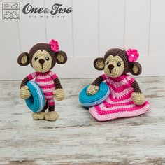 Combo Pack - Lily the Baby Monkey Lovey and Amigurumi Set for Dollars - PDF Crochet Pattern - I Crochet Monkey, Cute Crochet, Crochet For Kids, Crochet Crafts, Crochet Dolls, Crochet Baby, Crochet Projects, Crochet Security Blanket, Lovey Blanket