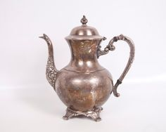 Antique Teapot Coffee Pot Server Silver Plate by LeVintageGalleria