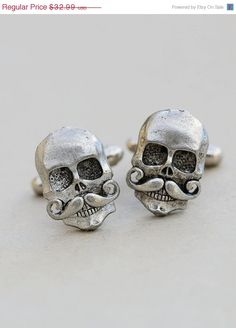 ON SALE Skull With Mustache Cufflinks Silver Plated Metal Vintage Inspired Style Antiqued Finish Men's Cuff Links & Accessories