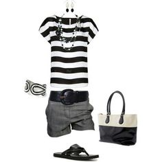 I like the black/white/gray colors.  I like the solid color shorts with striped tee.