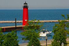 Kenosha Pierhead Lighthouse located in Kenosha, Wisconsin.