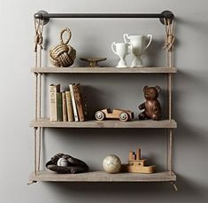 RH Baby & Child's Industrial Pipe & Rope Shelf - Weathered White:Our shelf& sturdy top bar was pieced together from authentic pipe fittings that lend a vintage-industrial aesthetic, standing in sharp contrast to the rustic warmth of natural wood and rope. Hanging Shelves, Wall Shelves, Wood Shelf, Nursery Shelving, Hanging Racks, Decoration Bedroom, Diy Home Decor, Industrial Shelving, Industrial Pipe