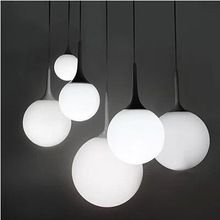 Free Shipping 1Piece Modern White Milk Glass Globe Lamp Pendant Light Living Room Home Decoration PLL-253(China (Mainland))