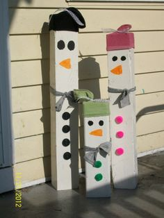 wooden snowmen good family project like last year ladies!!