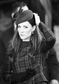 Kate Middleton wearing plaid.