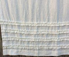White Shower Curtain with Ruffles 100% by CustomLinensHandmade