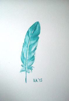 Feather illustration, feather art, feather watercolor, feather artwork, bird feather, feather painting, mint feather, teal feather, wall art by VeselinaArt on Etsy https://www.etsy.com/listing/258845564/feather-illustration-feather-art-feather