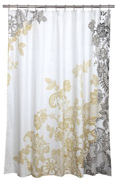 Wonder if I could make a shower curtain or window curtains like these with a cheap stamp and paint??