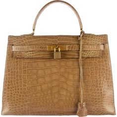 Pre-owned Herm?s Alligator Kelly Sellier 35 ($15,800) ❤ liked on Polyvore featuring bags, handbags, gold, zip purse, zip lock bags, tan handbags, circle purse and alligator handbags