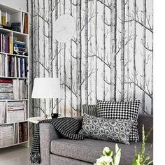 Birch Tree Wallpaper Modern Black White Woods Forest Wallpaper 20.8  x 393.7  XW