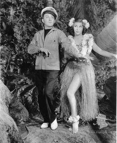 "Bing and co-star Martha Raye practice their 'Waikiki-waggle' for their 1936 film ""Waikiki Wedding"""