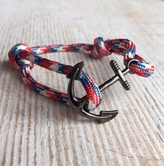 Combination color paracord bracelet with anchor by Upyouranchor