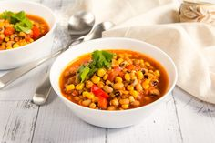 This comforting soup recipe is a great way to turn frozen black-eyed peas into a satisfying vegan meal. Add a few fresh veggies, canned tomatoes, and...