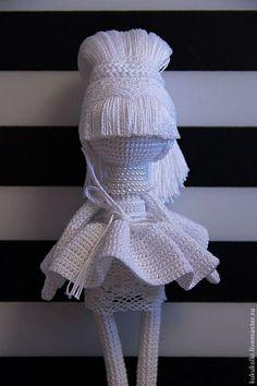 Купить Белая Королева - белый, монохром, кукла ручной работы, кукла текстильная, Вязание крючком