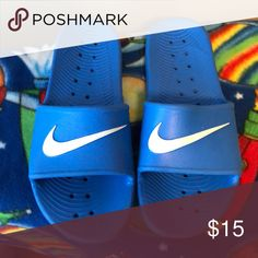 b56b9278aae8c Nike slides Blue Nike Slides. Water durable! Great for poolside. Nike Shoes  Sandals