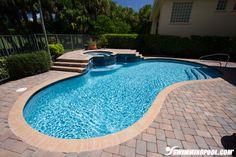 Kidney Bean Pool with Raised Spa | SwimmingPool.com