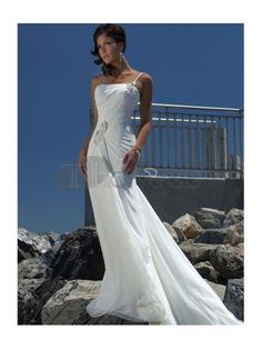 Abiti da Sposa Spiaggia-Vita impero una spalla abiti da sposa spiaggia di chiffon