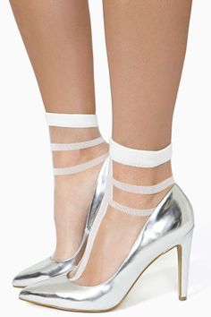 Hard Line White Sheer Socks and Silver Pumps