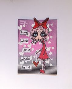 Sassy Monster Crafts: Ophelia's Heart ATC using a digital stamp from Dilly Beans