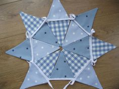HANDMADE BOYS NAUTICAL LAURA ASHLEY GINGHAM BLUE GINGHAM DOT STAR BUNTING CLARK
