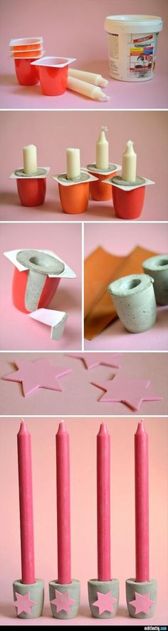 Portavelas con cemento y potes de yogur! Candle holder with cement and yogurt pots! Kids Crafts, Diy And Crafts, Easy Crafts, Decor Crafts, Home Decor, Diy Projects To Try, Craft Projects, Craft Ideas, Fun Ideas