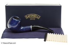 TobaccoPipes.com - Savinelli Arcobaleno 626 Blue Tobacco Pipe - Smooth, $100.00