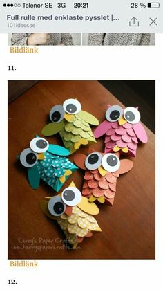 Top 10 Best Toilet Paper Rolls Crafts Craft Ideas for the 10 diy toilet paper roll crafts - Diy Paper Crafts Owl Crafts, Cute Crafts, Diy And Crafts, Craft Projects, Crafts For Kids, Projects To Try, Arts And Crafts, Craft Ideas, Diy Ideas