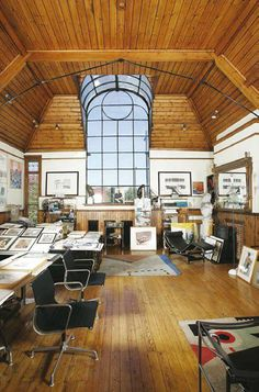 Interior of one of the artist studios/houses on Talgarth Road. This studio used to be occupied by the architect Alan Day.