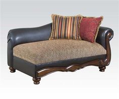 Olysseus Brown Floral Fabric Wood Chaise