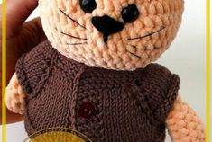 Dulce muñeca de ratón amigurumi patrón libre de ganchillo - Patrones de amigurumi gratis Crochet Bunny Pattern, Crochet Snowman, Beanie, Teddy Bear, Toys, Animals, Dolls, Hand Crafts, Crochet Hippo