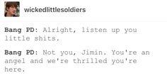 Everyone loves jimin>>And Tae!>>and jungkook>>and J-Hope>>and Suga>>and Jin>>and Rap Monster long story short:  EVERYONE LOVES ALL OF BTS
